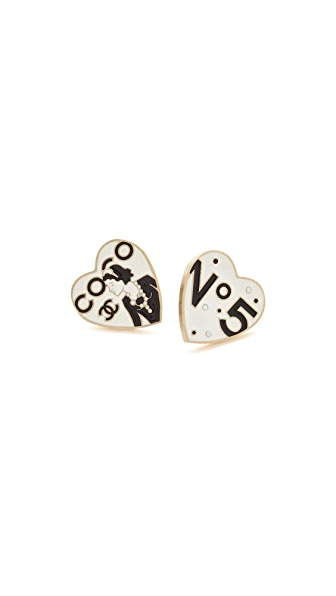 What Goes Around Comes Around Chanel Enamel Heart Pins (Previously Owned)