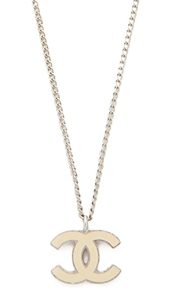 What Goes Around Comes Around Chanel Enamel CC Necklace (Previously Owned) - Cream/Silver