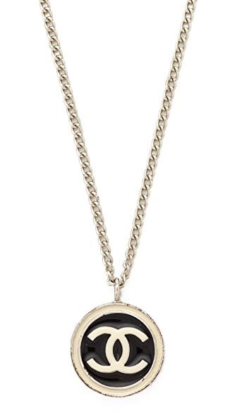 What Goes Around Comes Around Chanel Enamel CC Necklace (Previously Owned) - Black/Cream