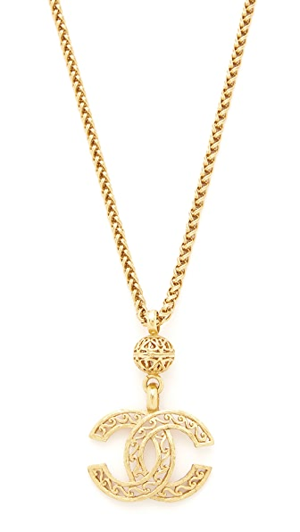 What Goes Around Comes Around Chanel Fretwork CC Necklace (Previously Owned) - Gold