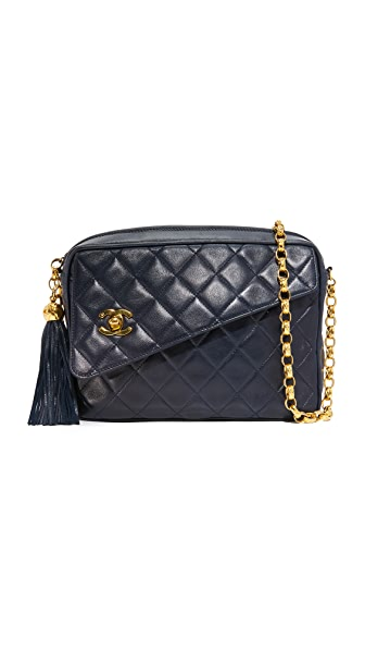 What Goes Around Comes Around Chanel Diagonal Flap Camera Bag (Previously Owned) In Navy