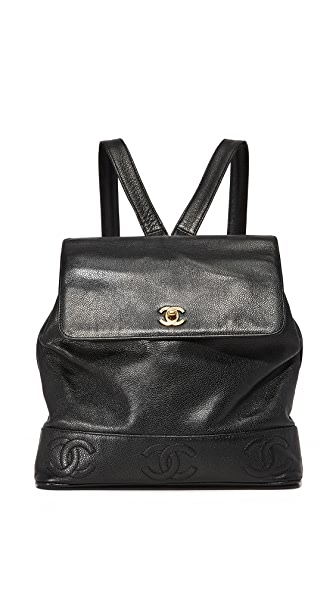 What Goes Around Comes Around Chanel Caviar CC Backpack (Previously Owned) - Black