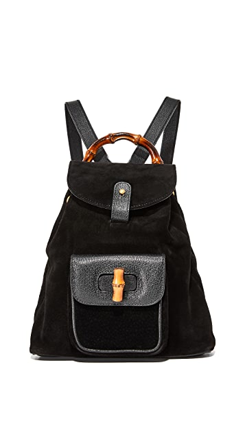 What Goes Around Comes Around Gucci Suede Bamboo Backpack (Previously Owned)