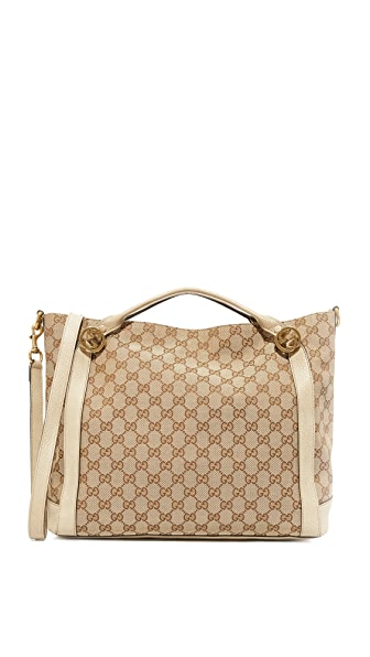 What Goes Around Comes Around Gucci Canvas Miss Tote (Previously Owned) - Cream
