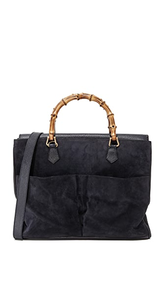 What Goes Around Comes Around Gucci Suede Bamboo Tote (Previously Owned) - Navy