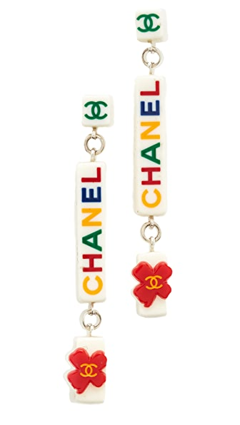 What Goes Around Comes Around Chanel Acrylic Dangle Earrings (Previously Owned)