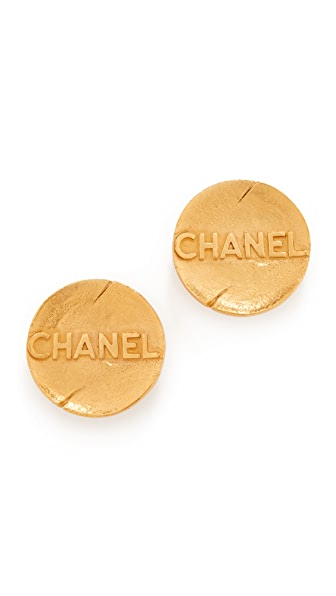 What Goes Around Comes Around Chanel Round Earrings (Previously Owned) - Yellow Gold