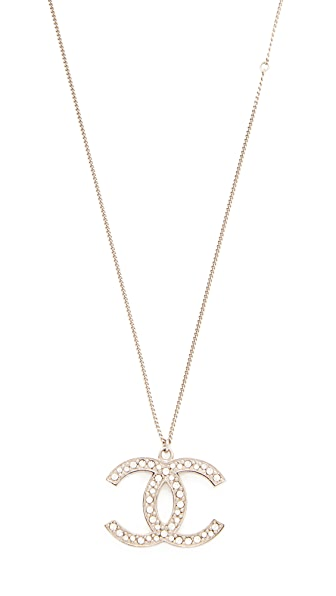 What Goes Around Comes Around Chanel Crystal CC Large Necklace (Previously Owned) - Silver/Crystal