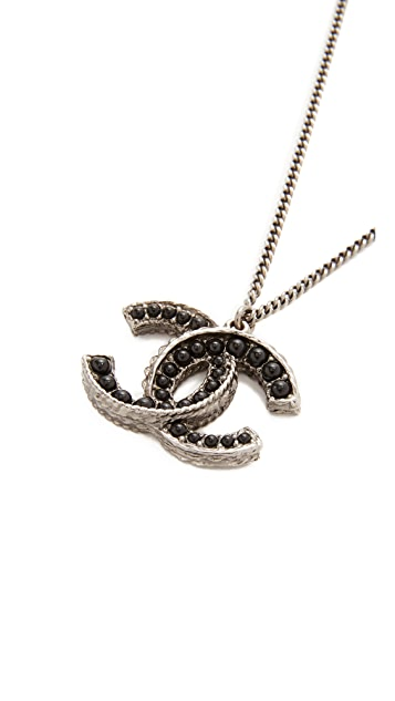 What Goes Around Comes Around Chanel Black Silver Necklace (Previously Owned)