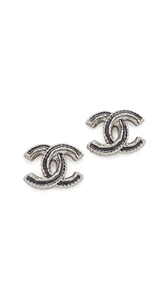 What Goes Around Comes Around Chanel Silver Black Enamel CC Earrings (Previously Owned)