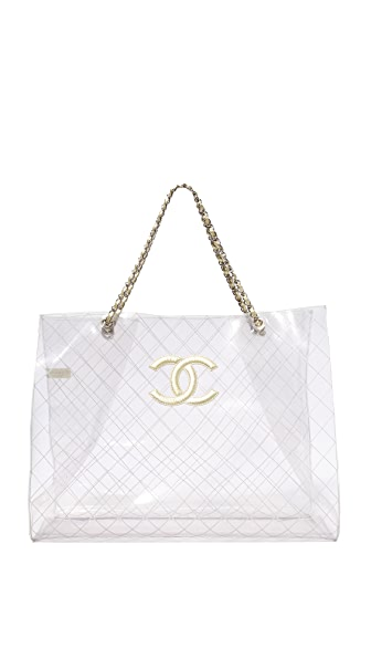 What Goes Around Comes Around Chanel Clear Vinyl Tote (Previously Owned) - Clear
