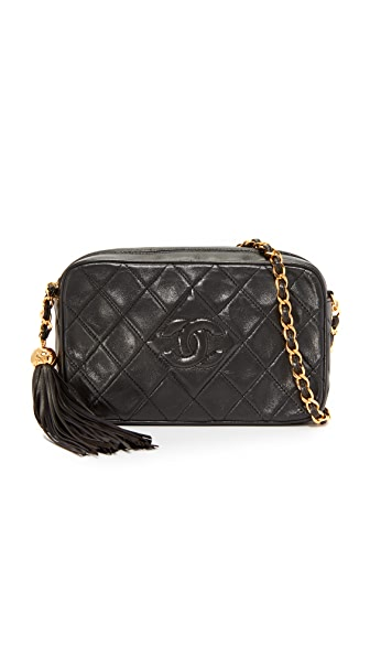 What Goes Around Comes Around Chanel CC Diamond Camera Bag (Previously Owned) In Black