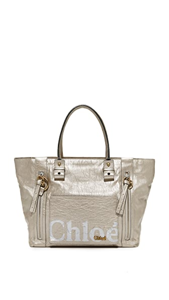 What Goes Around Comes Around Chloe Metallic Eclipse Tote (Previously Owned) - Silver