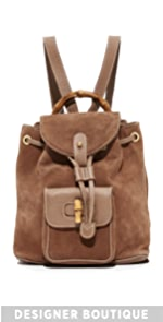 Gucci Mini Suede Bamboo Backpack (Previously Owned) What Goes Around Comes Around