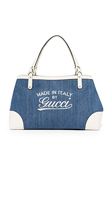 What Goes Around Comes Around Gucci Denim Hawaii Tote (Previously Owned)