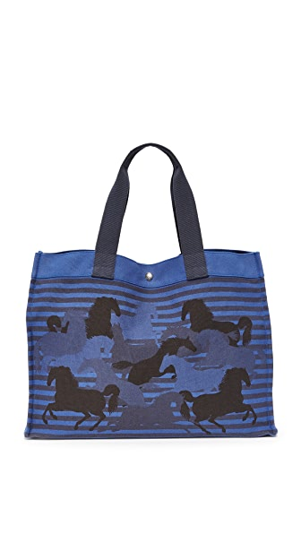 What Goes Around Comes Around Hermes Canvas Horse Tote (Previously Owned) In Blue Multi