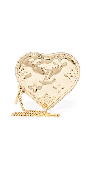 What Goes Around Comes Around Louis Vuitton Mirror Heart Coin Purse (Previously Owned) In Gold