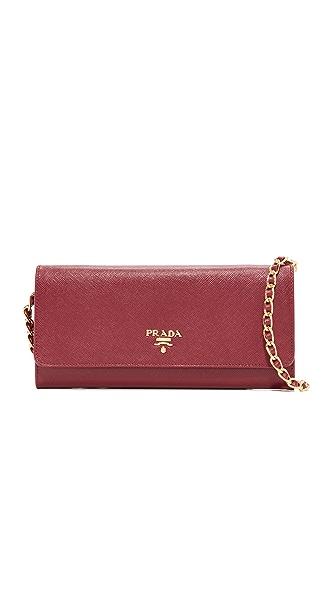 What Goes Around Comes Around Prada Saffiano Mini Shoulder Bag (Previously Owned) - Burgundy