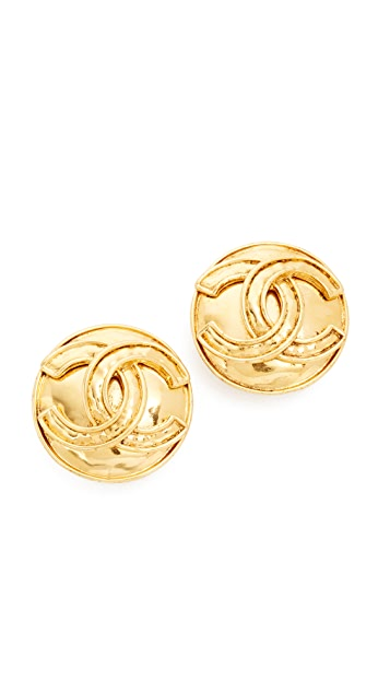 What Goes Around Comes Around Chanel CC Round Clip On Earrings (Previously Owned)