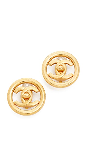What Goes Around Comes Around Chanel Circle CC Clip On Earrings (Previously Owned)
