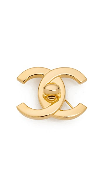What Goes Around Comes Around Chanel Gold Turnlock Pin Medium (Previously Owned)