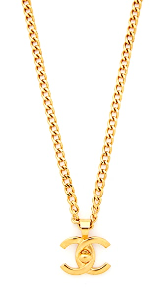 What Goes Around Comes Around Chanel Gold Turnlock Necklace (Previously Owned)
