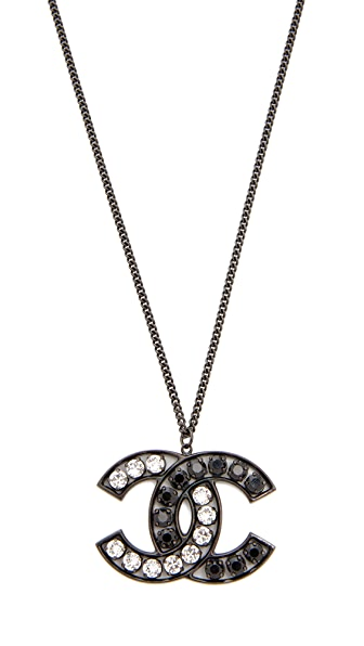 What Goes Around Comes Around Chanel Crystal CC Necklace (Previously Owned) In Black/Crystal