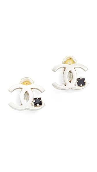 What Goes Around Comes Around Chanel Crystal CC Clip On Earrings (Previously Owned) In Silver