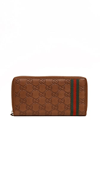 What Goes Around Comes Around Gucci Web Wallet (Previously Owned) In Brown