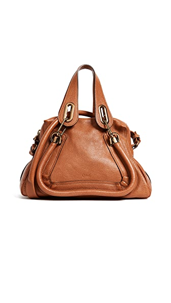 What Goes Around Comes Around Chloe Leather Paraty Handbag In Brown