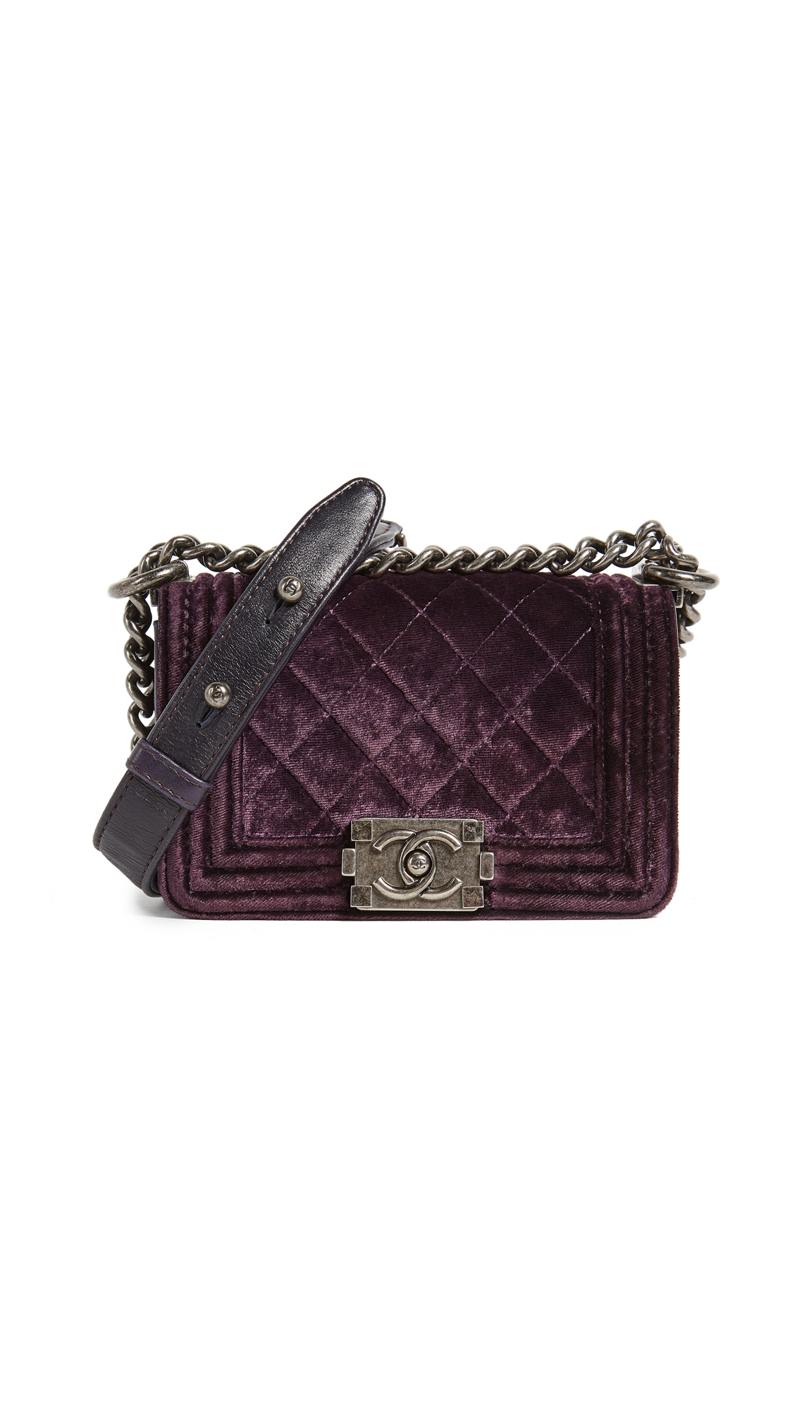 What Goes Around Comes Around Chanel Velvet Boy Mini Bag (Previously Owned) - Purple