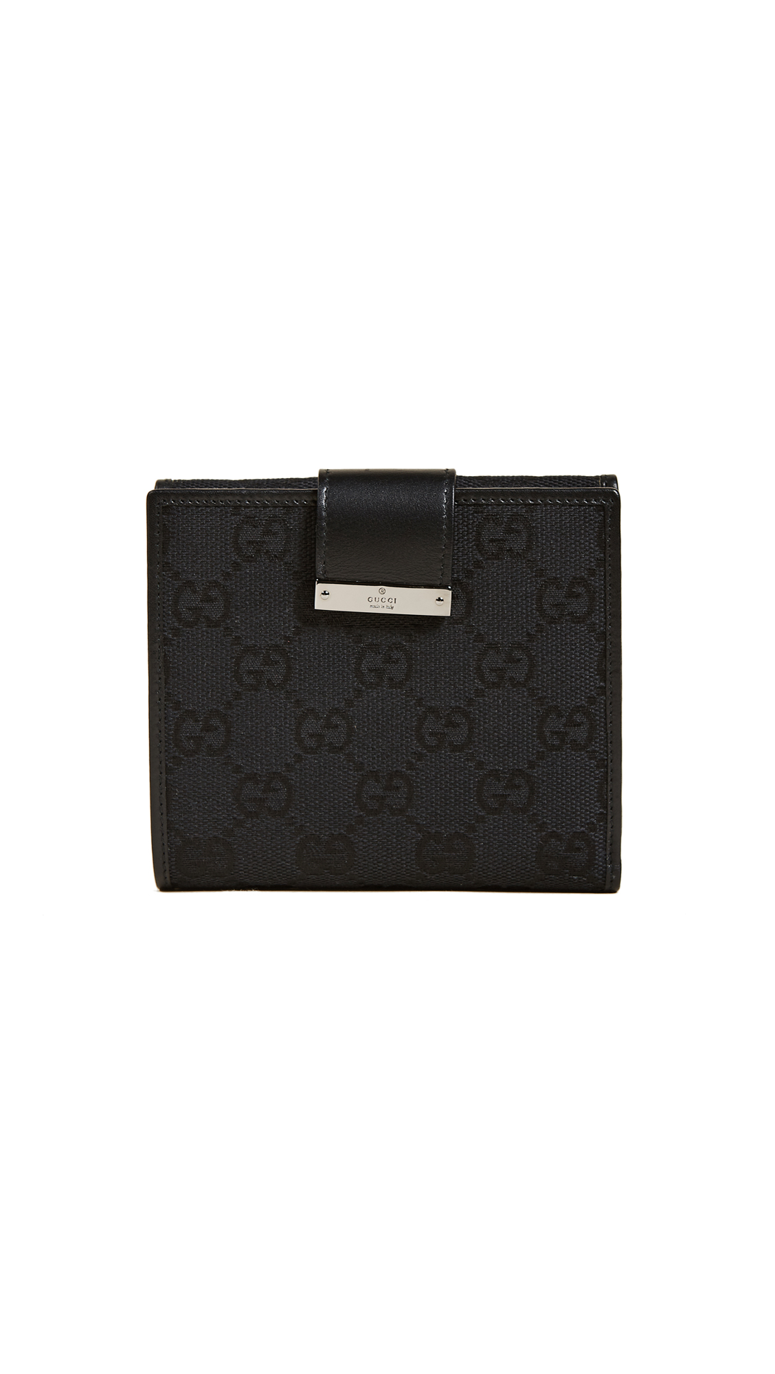 What Goes Around Comes Around Gucci Canvas Bifold Wallet (Previously Owned) - Black