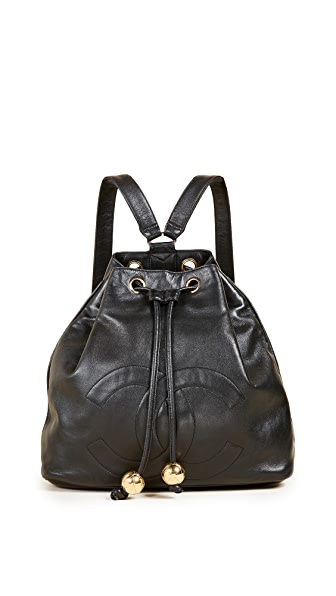 What Goes Around Comes Around Chanel Black Leather Backpack (Previously Owned) In Black