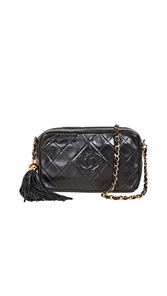 What Goes Around Comes Around Chanel Diamond Camera Bag (Previously Owned) In Navy