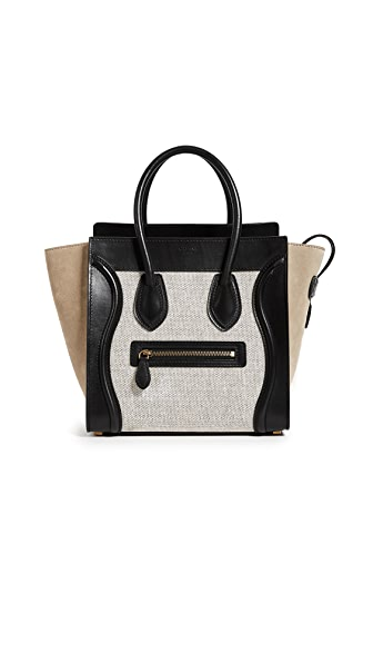 What Goes Around Comes Around Celine Multi Canvas Luggage Micro (Previously Owned) In Black/Tan