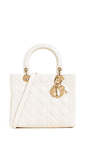 What Goes Around Comes Around Medium Lambskin Lady Dior Bag (Previously Owned) In Cream