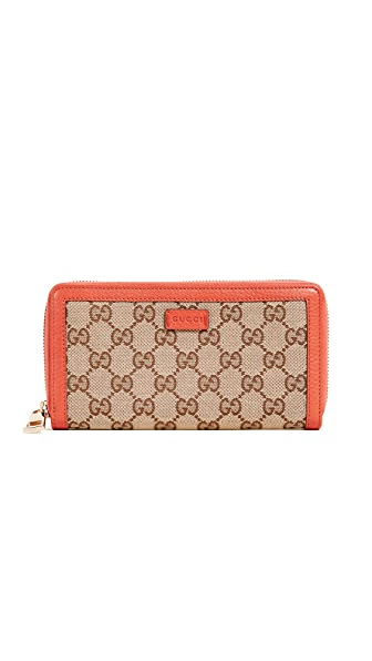 What Goes Around Comes Around Gucci Canvas Zip Wallet (Previously Owned) In Orange/Brown