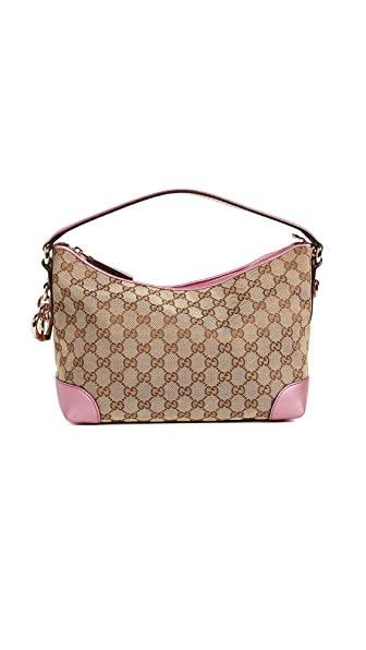 What Goes Around Comes Around Gucci Canvas Heart Bit Hobo Bag (Previously Owned) In Brown/Pink