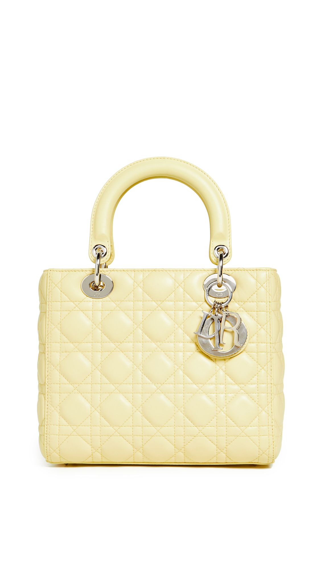 46d87e2c54f0 What Goes Around Comes Around Dior Lambskin Medium Lady Dior Bag In Yellow