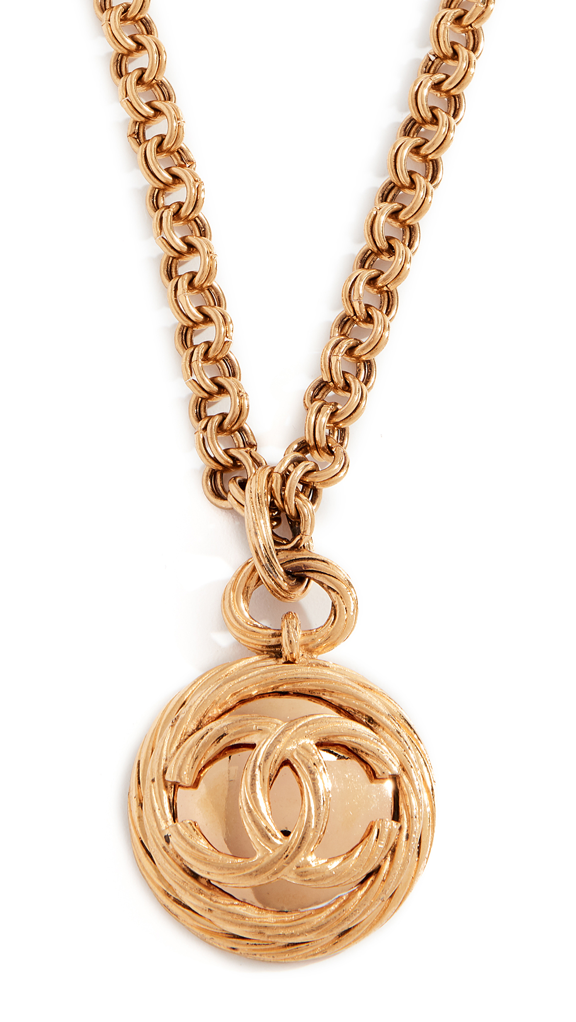 WHAT GOES AROUND COMES AROUND CHANEL ROPE CC MIRROR NECKLACE, GOLD | ModeSens