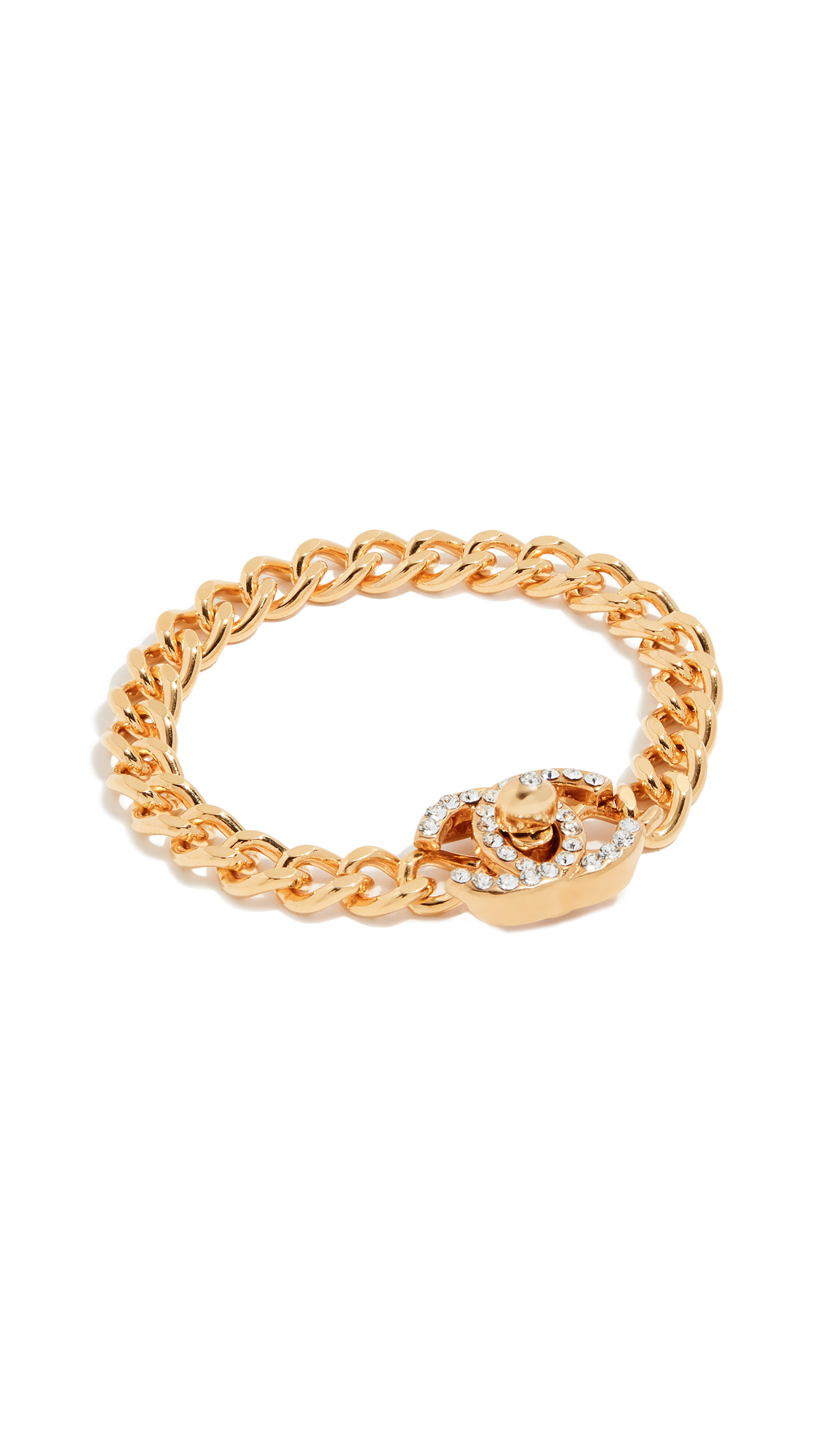 WHAT GOES AROUND COMES AROUND CHANEL SMALL CRYSTAL TURN LOCK BRACELET