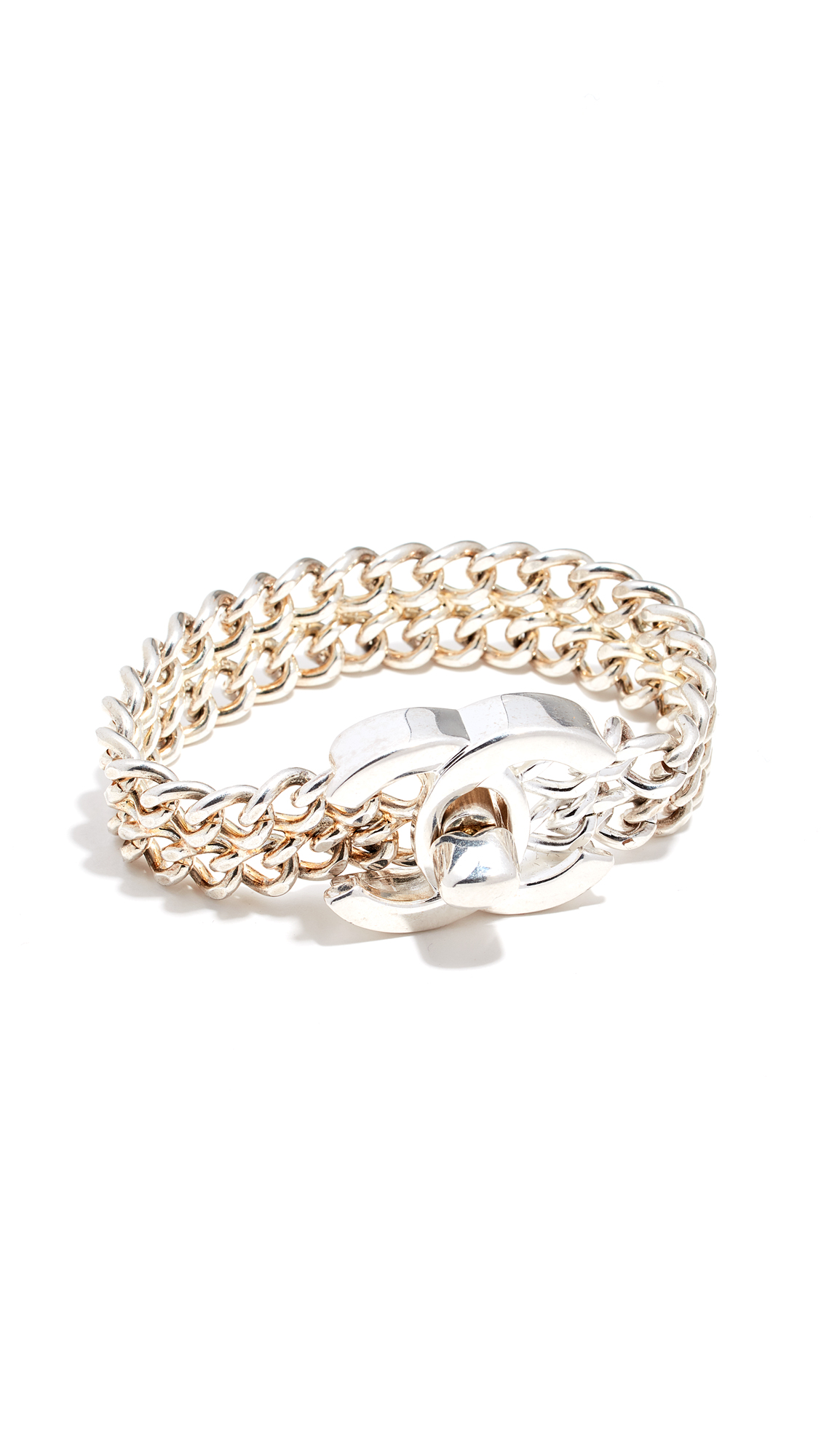 WHAT GOES AROUND COMES AROUND Chanel Large Silver Turn Lock Bracelet