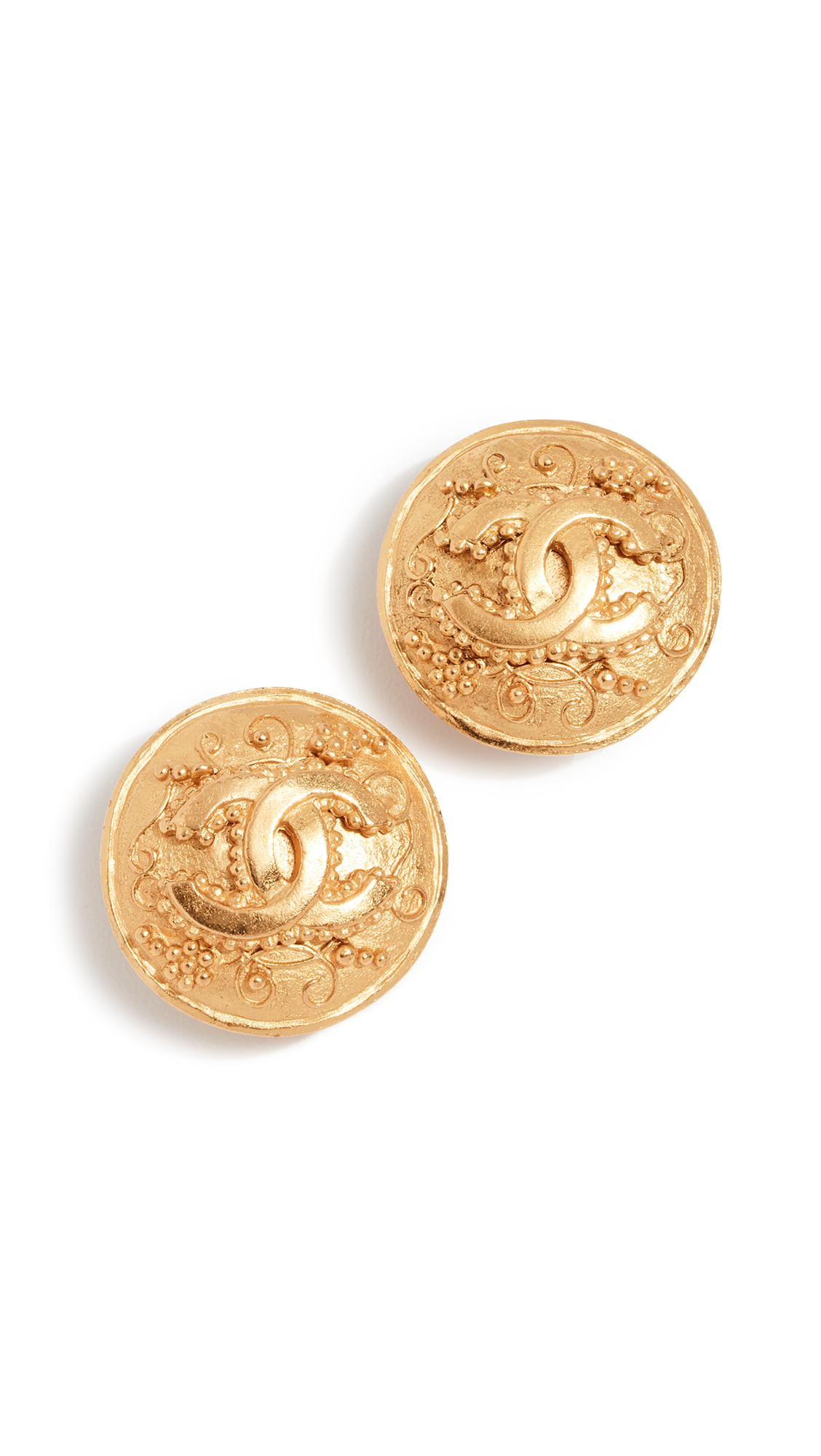 WHAT GOES AROUND COMES AROUND CHANEL GRAPEVINE ROUND CC EARRINGS