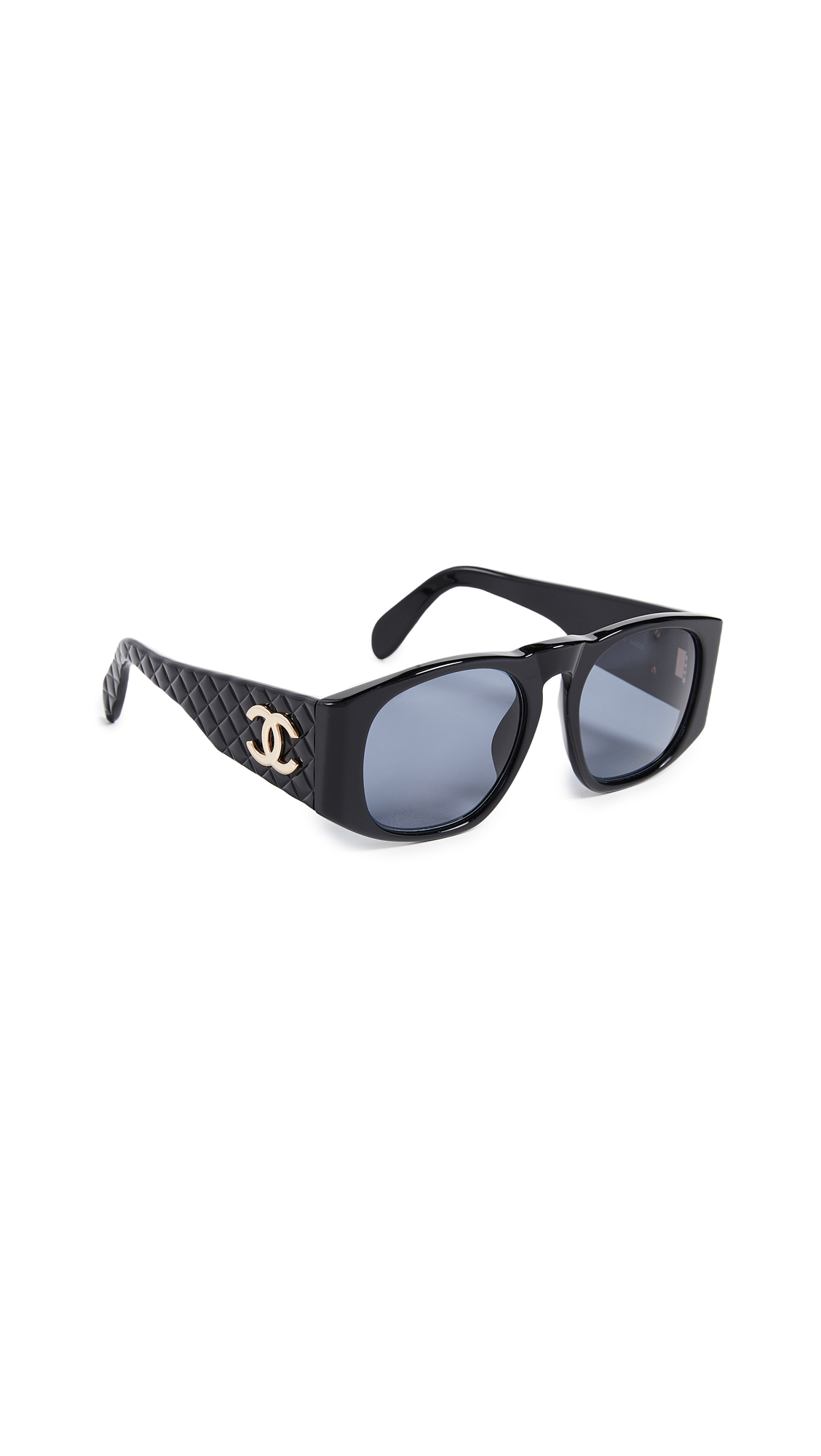 WHAT GOES AROUND COMES AROUND CHANEL QUILTED WIDE FRAME SUNGLASSES
