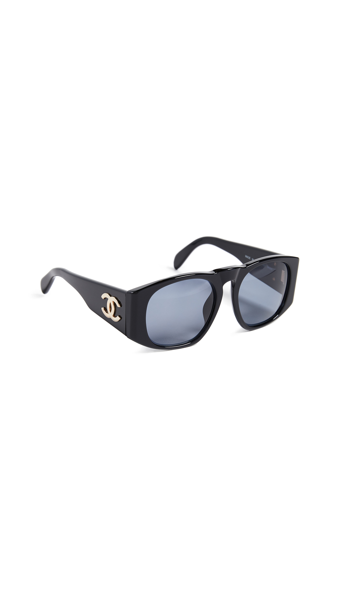 What Goes Around Comes Around Chanel Solid Wide Frame Sunglasses In Black