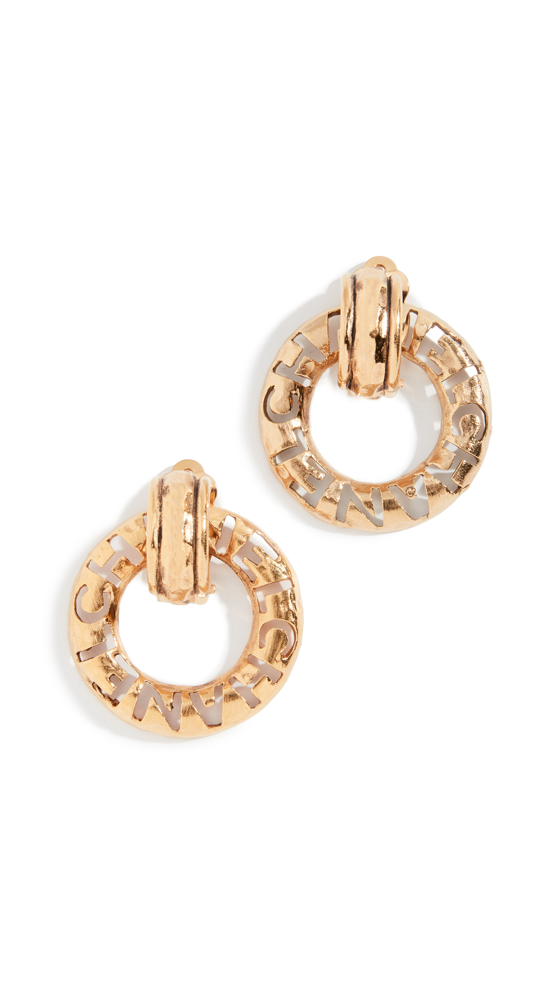 WHAT GOES AROUND COMES AROUND Chanel Cc Cross Dangle Clip On Earrings in Yellow Gold