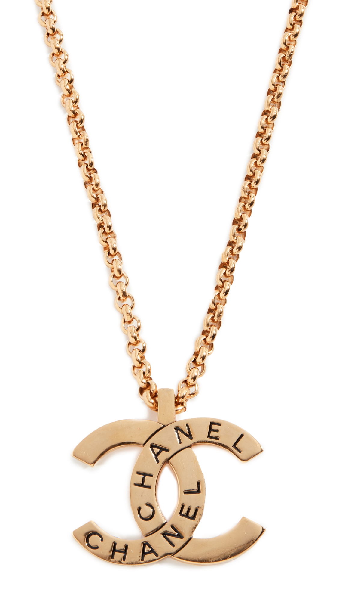 WHAT GOES AROUND COMES AROUND CHANEL GOLD CC PENDANT NECKLACE