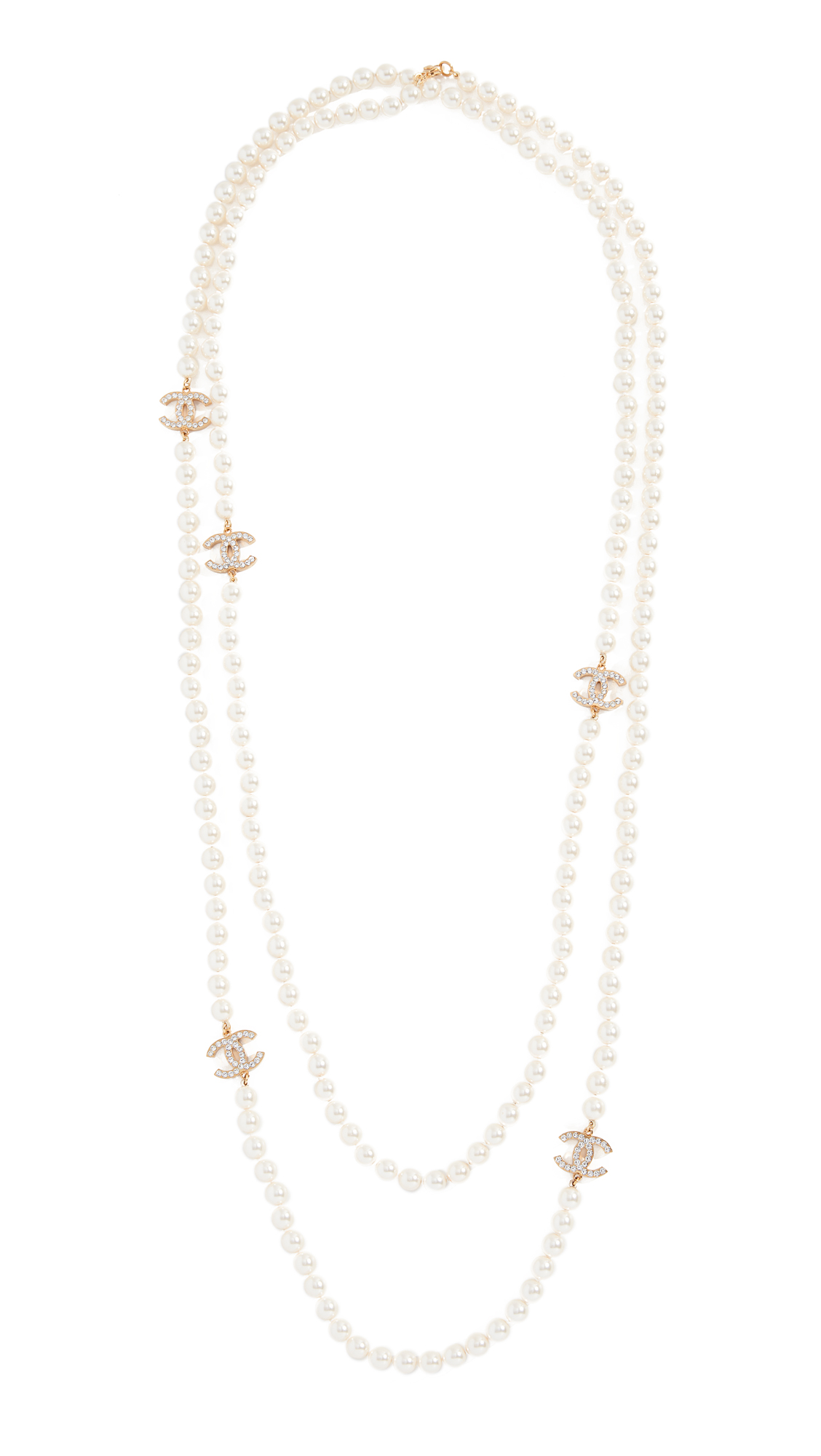 WHAT GOES AROUND COMES AROUND CHANEL PEARL CRYSTAL CC NECKLACE