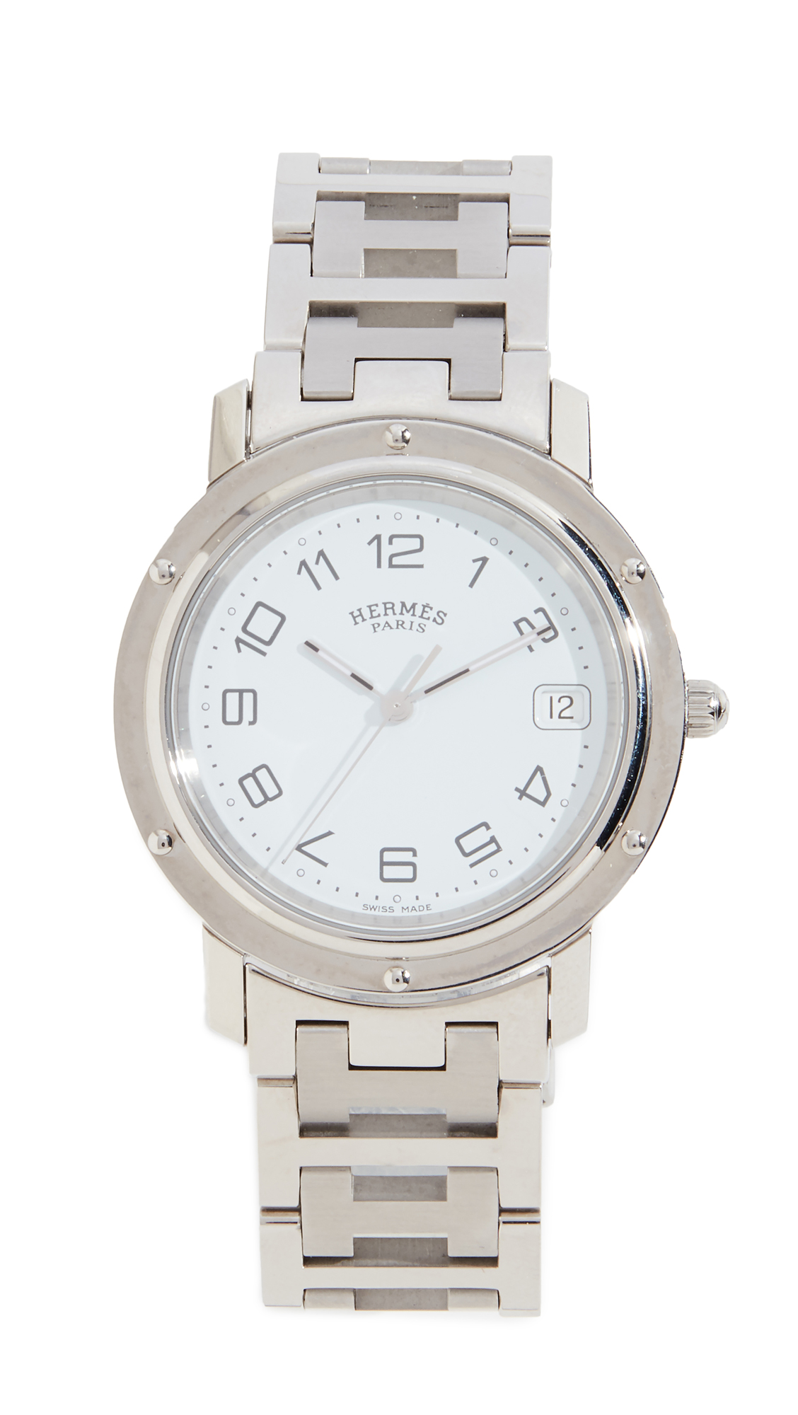 WHAT GOES AROUND COMES AROUND HERMES WHITE SC CLIPPER GM WATCH