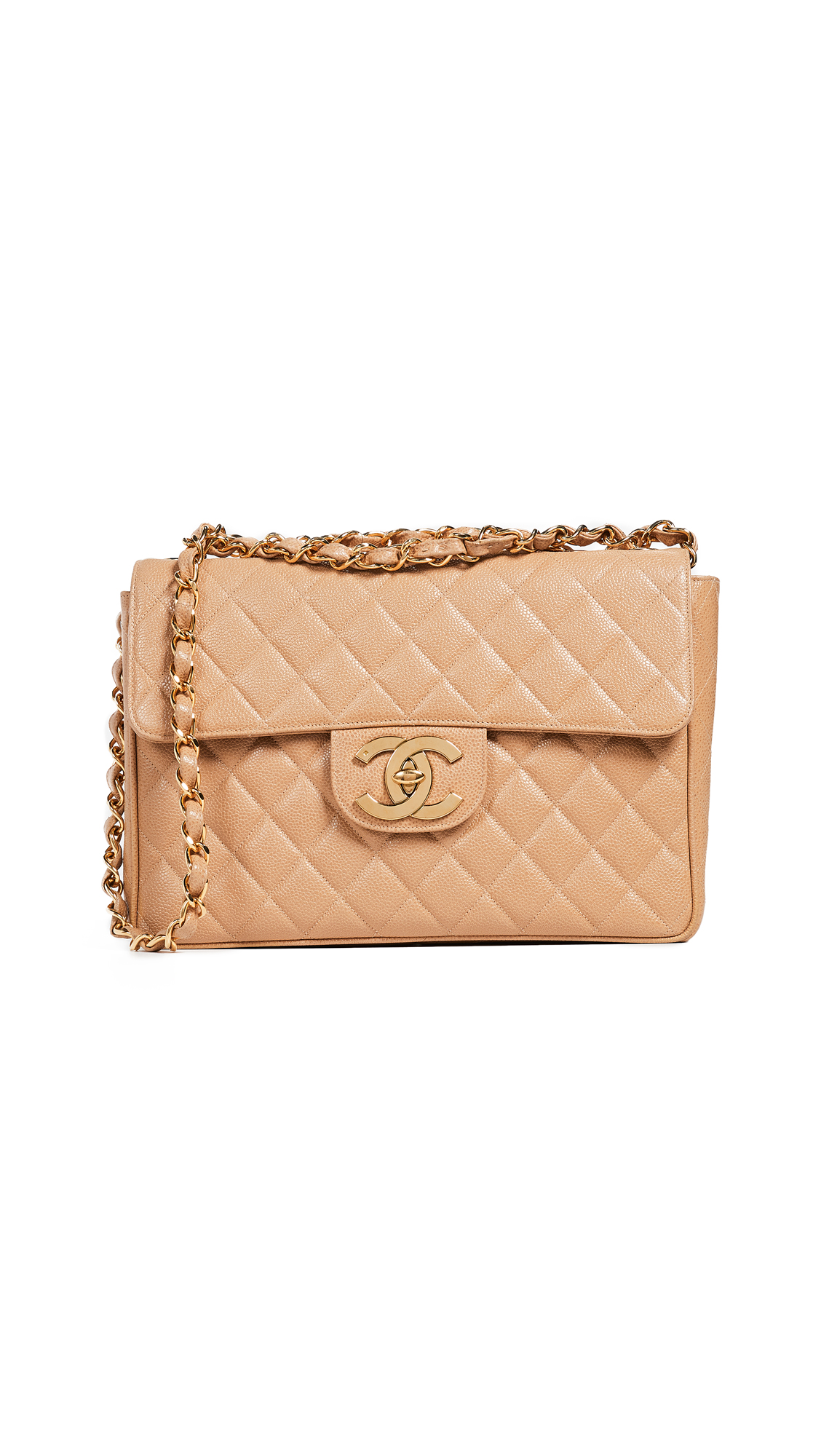 ad49508654ba1 What Goes Around Comes Around Chanel Caviar Half Flap Jumbo Bag In Beige